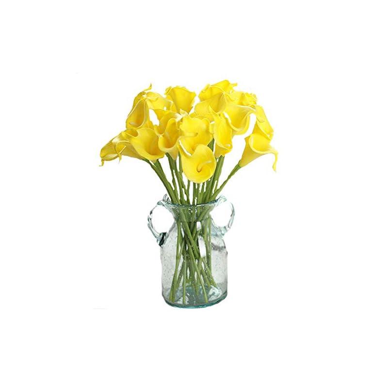"silk flower arrangements packozy 20 pcs artificial flower calla lily bridal wedding bouquet lataex bouquets 14.17"" for home party decor(yellow)"