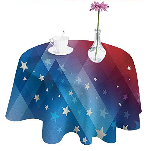 Curioly 4th of July Washable Tablecloth Independence Day Themed Abstract Diamond Rhombus with Star Liberty Freedom Dinner Picnic Home Decor D51 Inch Red White Blue]()