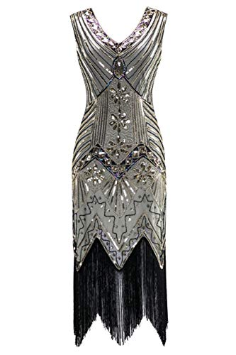 Metme Women's 1920s V Neck Beaded Fringed Gatsby Theme Flapper Dress for Prom Champagne