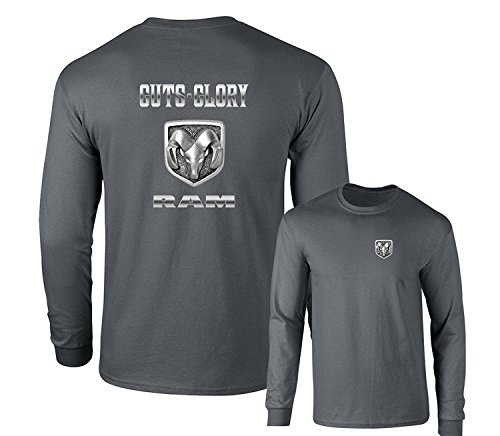 Guts Glory RAM Logo Dodge Emblem Long Sleeve T-Shirt, Charcoal, XL