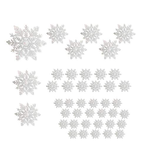 BANBERRY DESIGNS White Glittered Snowflakes - Pack of 42 Plastic Snowflakes Covered in White Glitter - Assorted Sized of Small, Medium and Large Hanging Snow Flakes - Christmas Snowflakes