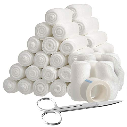 48-Piece Stretch Bandage Roll with Tape and Scissors Bundle Pack - 4 Yards Sterile Rolled Gauze Bandages for Wounds, Injuries and Surgery After Care Premium Cloth Bandages for First Aid Supplies