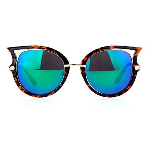 SA106 Womens mirrored Lens Retro Bat Shape Horn Rim Round Oval Sunglasses Tortoise - Bat Sunglasses