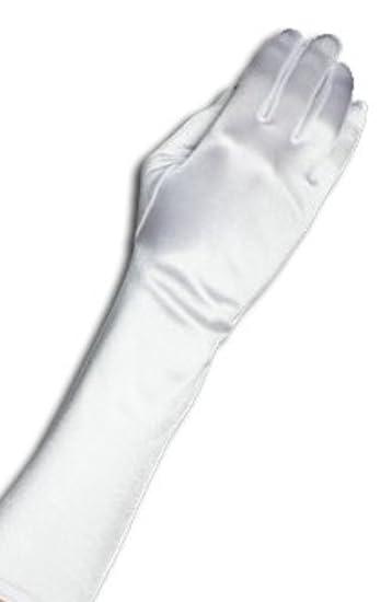 Amazon.com: Yabber White Satin Elbow Length Gloves Bridal Princess ...