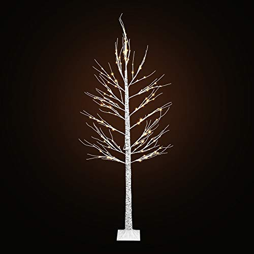 LED Birch Tree Lights LightMe Artificial 8FT 132 Warm White LED Lighted Birch Tree Lamp for Office, Home, Patio, Garden, Festival, Party, Wedding, Christmas, Halloween Decor Indoor Outdoor(White Tree) from LightMe