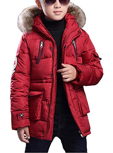 FARVALUE Boy Winter Coat Warm Quilted Puffer Parka Jacket with Fur Hood for Big Boys Red Size 14