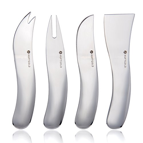 HUFTGOLD 4-Piece Cheese Knife, iF Design Award Winning Cheese Knife Set, Stainless Steel Cheese Knife Gift Set or Dessert (Art Deco Cheese)