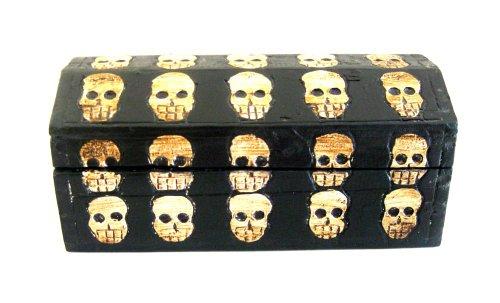 (OMA Skull Treasure Chest Trinket Box Skeleton Trunk Skeleton Cross Bones Decor Box -Medium Size - Hand Carved Brand)