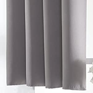 Aquazolax Blackout Curtain Panels for Bedroom Windows Thermal Insulated Grommet Top Blackout Draperies and Drapes, 2 Panels, 54-inch wide x 54-inch long, Grey