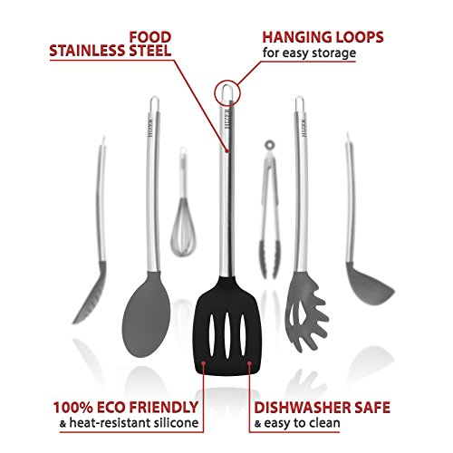 Kitchen Cooking Utensils Set (7 in 1) - Stainless Steel Kitchen Cooking Utensils - Best silicone Utensils Set - 100% eco friendly (Black)
