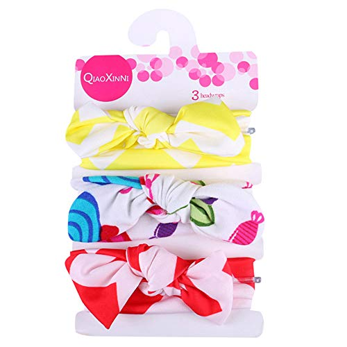(Zohto 3Pcs Kids Floral Headband Girls Baby Elastic Bowknot Accessories Hairband)