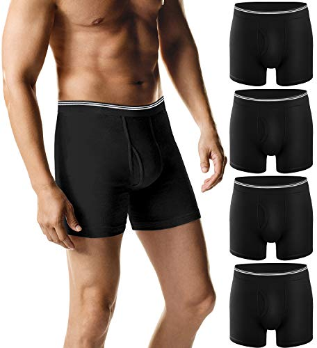 BESTENA 4 Pack Men's Boxer Briefs, Cotton No Ride-up Breathable Tagless Trunk Mens Underwear