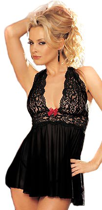 Sexy Halter Lace Bust Ruffled Chemise Style With Red Bow and Thong