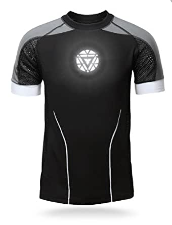 Iron Man 3 Deluxe Hero Tony Stark Light-Up LED Shirt - Official Marvel Licensed TShirt - Arc Reactor Glows - Black Gray and White t-shirt - (XXL)