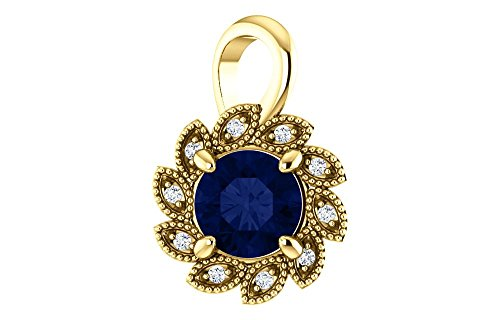 Jewels By Lux 14K Yellow Gold Chathamå¨ Created Blue Sapphire & .04 CTW Diamond Pendant