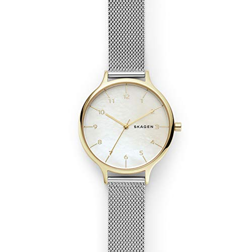 Skagen Women's Analog-Quartz Watch with Stainless-Steel Strap, Silver, 14 (Model: SKW2702) (Skagen Watch Date Womens)