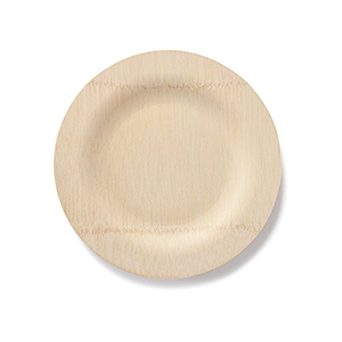 """BAMBU – 11"""" Bamboo Veneerware Round Disposable Plates, Package of 25 – Compostable & Eco Friendly Great For Any Occasion – 100% Natural"""