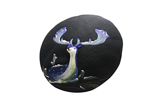 Ysting Felted Hat Beret Christmas Deer French Beret Hat Fashion Hat Felted Wool For Women Kawaii Cute Valentines Doe Animal (Black)