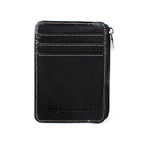 ID STRONGHOLD RFID Front Pocket Wallet Minimalist Wallet Slim Wallet Exquisite Rugged Leather with Zipper