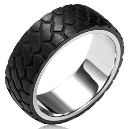 Steel Tire Black - Two-Tone 8MM Stainless Steel Off Road Tire Tread Forged Black Carbon Fiber Ring Band, Size 10