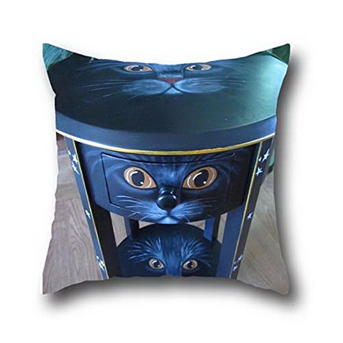 Mr Ozzello Oil Painting Black Cats Halloween Print Cotton Blend Pillow Sofa Throw Case ( 20*20 (Black Cats Of Halloween Rin And Len)