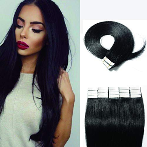 SEGO 40 Pieces Rooted Tape in Hair Extensions Human Hair Seamless Skin Weft 100% Real Remy Invisible Tape Hair Extensions Straight Double Sided 20 inches #01 Jet Black 100g (Remy Hair Human Extensions)