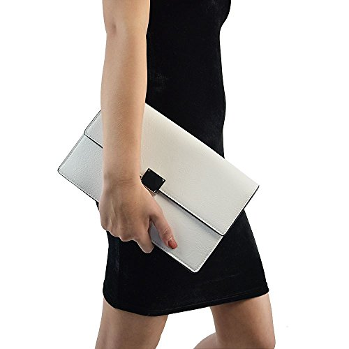 Essex Glam Women's White Synthetic Leather Envelope Clutch Handbag by ESSEX GLAM