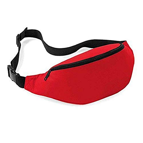 Unisex Sport Waist Fanny Pack, Pure Color Belt Zipper Handy Hiking Travel Bag Pouch (Red) Red