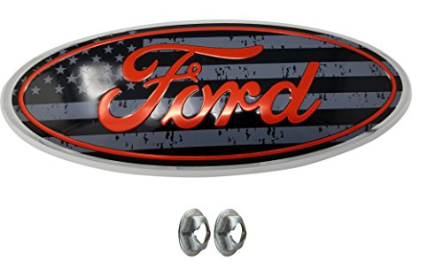 Muzzys FORD 2005-2014 F150 ORANGE and SUBDUED American Flag Grille or Tailgate Emblem WITH NUTS, Oval 9