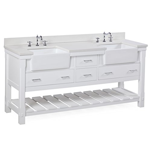41L7oA0rxAL - Charlotte 72-inch Bathroom Vanity (Quartz/White): Includes a White Quartz Countertop, White Cabinet with Soft Close Drawers, and White Ceramic Farmhouse Apron Sinks