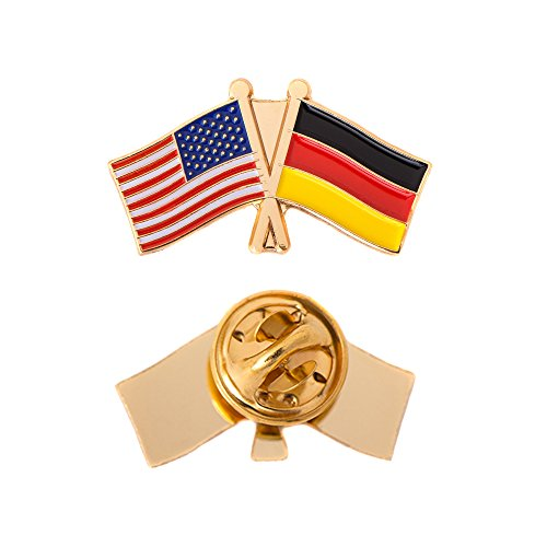 Germany Country Double Flag Lapel Pin Enamel with United States USA US Made of Metal Souvenir Hat Men Women Patriotic German