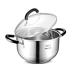 HU Milk Pot 22cm Complex Bottom 304 Stainless Steel Soup Pot Gas Cooker Universal
