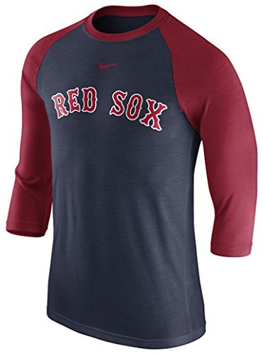 Boston Red Sox Nike Wordmark Three-Quarter Sleeve Tri-Blend Raglan T-Shirt - Navy/Red (Nike Tri Blend Fan)