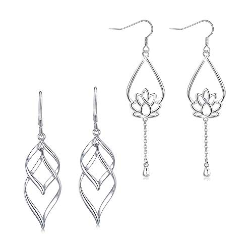 Adramata 2 Pairs 925 Sterling Silver Dangle Earrings for Women Girls Double Twist Wave Lotus Flower Drop Earrings ()