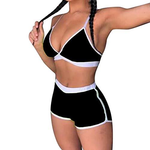 Bathing Suit for Women Contrast Trim Push-Up Padded Bra Boy Shorts Set Beach Swimsuit Swimwear (Small, Black) ()