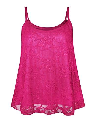 Glamour Babe - Camiseta moldeadora - Floral - Sin mangas - para mujer Cerise Pink-Top