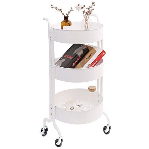 - 3-Tier Metal Utility Rolling Cart with Wheels, Round Storage Organizer Tool Cart, White