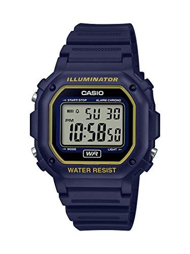 Casio Illuminator Stainless Steel Quartz Watch with Resin Strap, Black, 23.7 (Model: F-108WH-2A2CF)