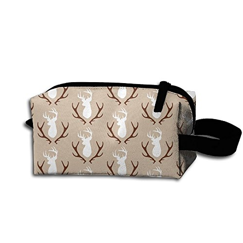 Brown Deer Head With Antlers Christmas Day Portable Make-up Receive Bag Hand Cosmetic Bag Makeup Bag Sewing Kit Medicine Bag For Home Office Travel Camping Sport Gym Outdoor With Hanging Zipper