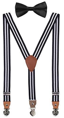 SUNNYTREE Mens Suspenders with Bow Tie Set Adjustable Y Back for Wedding Party 47 inches Black Stripe
