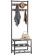 SortWise Industrial Coat Rack, Entryway Bench, Hall Tree with Hooks, Storage Organizer Shelf for Entryway, Hallway, Bedroom, Living Room