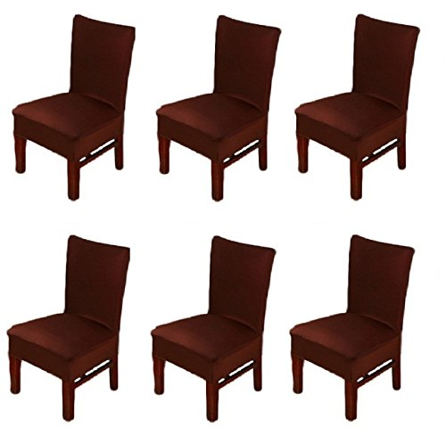 6 X Dinning Room Chair Seat Covers Spandex/Fabric, Moonter Stretch Removable Washable Banquet Slipcover Protector Folding Decoration For Wedding, Party,Ceremony ,Hotel (Set of 6, Brown) (Formal Dining Room Chair Covers)