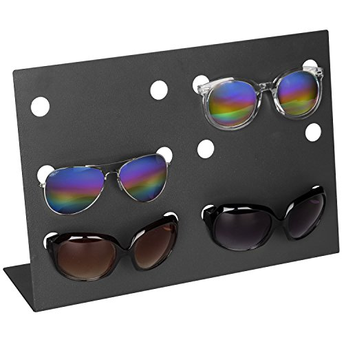 MyGift Modern Charcoal Gray Metal Retail Sunglasses Display Stand, 6-Pair Eyewear Rack
