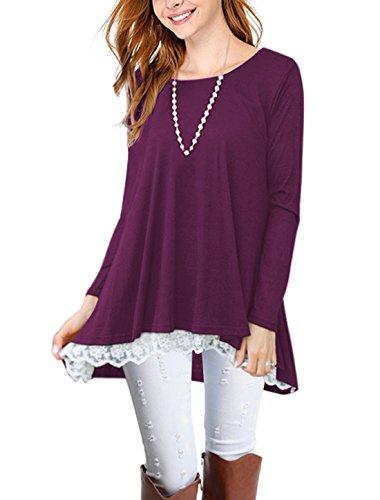 Lasvane Women Purple Tunic Lace Trim Tops For Leggings Blouse Shirt Long Sleeve