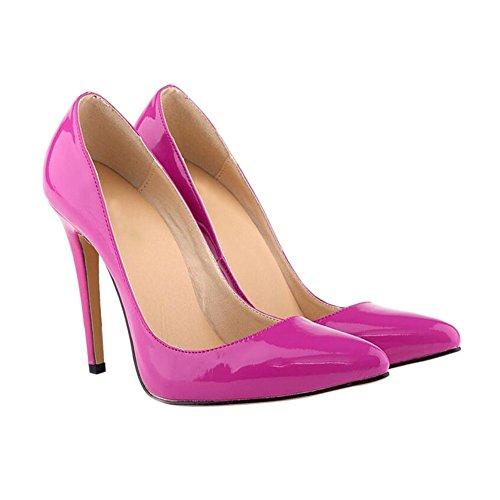 Haodasi Mode Frau Farbe der Süßigkeit Spitze 11CM High Heels Stilettos Schuhe Purple