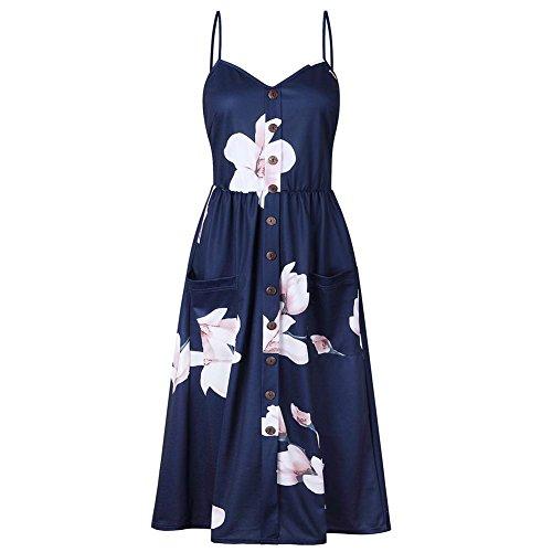 Luxsea Womens Elegant Dress Floral Sleeveless Ladies Spaghetti Strap Empire Sundress Long Dresses (Medium, Blue Flower)