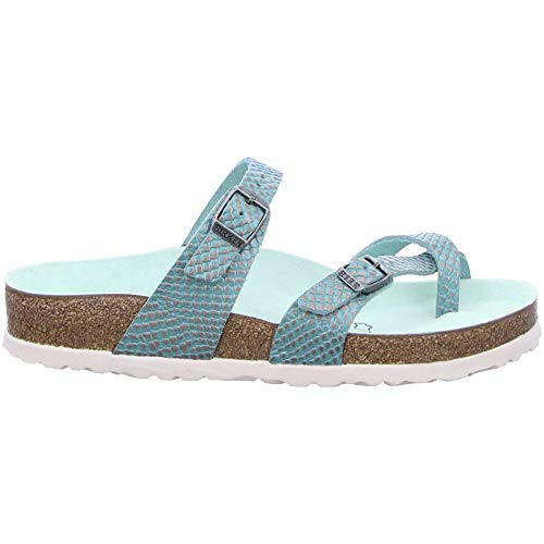 Birkenstock Womens Gizeh Leather Aqua Sandals 10 US