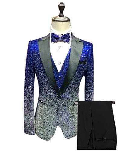Vincent Bridal Men's Suits 3 Pieces Slim Fit Shiny Gradually Changing Color Mens Suit One Button Groom Tuxedo(42 Regular,Royal - Bridal Suit