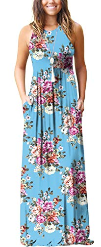 GRECERELLE Women's Sleeveless Racerback Loose Plain Maxi Dress Floral Print Casual Long Dresses with Pockets Light Blue-L