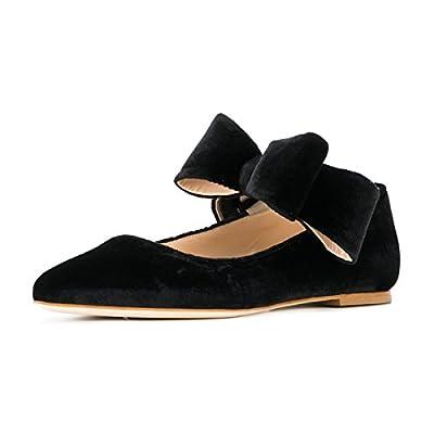 FSJ Women Cute Pointy Toe Flats Bowknot Fashion Low Heels Slip On Pumps Ballet Shoes Size 4-15 US